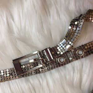 Vintage Accessories - Vintage 70s Silver Mesh Metal Disco Belt